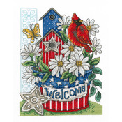 "7.5""X10"" 14 Count - Patriotic Welcome Counted Cross Stitch Kit"