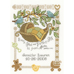 """7.5""""X10"""" 14 Count - Perfect Gift Birth Record Counted Cross Stitch Kit"""