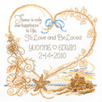 "7.5""X8"" 14 Count - Seaside Wedding Wedding Record Counted Cross Stitch Kit"