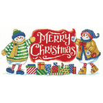 """16.25""""X7.75"""" 14 Count - Snowman Holiday Welcome Counted Cross Stitch Kit"""