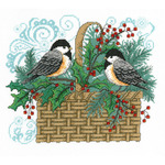 "11""X9.25"" 14 Count - Winter Chickadee Basket Counted Cross Stitch Kit"