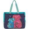 Blossoming Pups - Oversized Tote 20 X6 X15.5  Laurel Burch-Oversized Tote: Blossoming Pups. The brilliant hues and wonderful patterns of these carefully designed bags appeal to everyone. They are artful and useful at the same time! This 15x20x6 inch tote bag features two 24-1/2 inch straps, one large zippered compartment, two outer pockets, one cell phone pocket, and one inside zipper pocket. Do not wash- spot clean only. Imported.