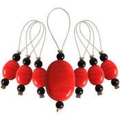 Tangerine - Zooni Stitch Markers W/Colored Beads 7/Pkg