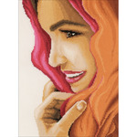"""8.75""""X11.75"""" 27 Count - LanArte Woman With Scarf On Cotton Counted Cross Stitch Kit"""