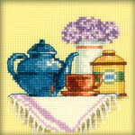 """4""""X4"""" 14 Count - A Cup Of Tea In The Morning Counted Cross Stitch Kit"""