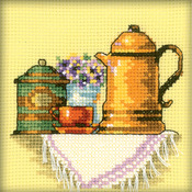 "4""X4"" 14 Count - A Cup Of Coffee In The Morning Counted Cross Stitch Kit"