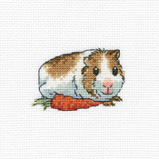 """4""""X4"""" 14 Count - Cavy With Carrot Counted Cross Stitch Kit"""