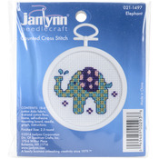"2.5"" Round 18 Count - Elephant Mini Counted Cross Stitch Kit"