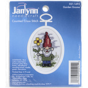 "2.75"" Oval 18 Count - Gnome Mini Counted Cross Stitch Kit"