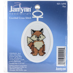 """2.75"""" Oval 18 Count - Fox Mini Counted Cross Stitch Kit"""