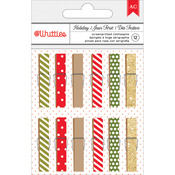 Dots & Stripes - Whittles Christmas Clothespins 12/Pkg