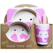 Pink Elephant - Bamboo Fiber Kids Plate Set