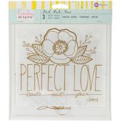 Perfect Love Phrase Gold Foil Large Rub Ons - Creating In Faith - Prima