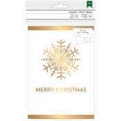 "Snowflake W/Gold Foil - American Crafts Cards W/Envelopes 5""X7"" 8/Pkg"