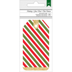 Stripe with Gold Glitter - American Crafts Holiday Tags