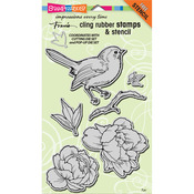 """Bird Blossom - Stampendous Cling Stamp 7""""X5"""""""