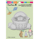 """Bunny Basket - Stampendous HappyHopper Cling Stamp 6.5""""X4.5"""""""
