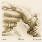"""8.25""""X8.25"""" 14 Count - First Tenderness Birth Record On Aida Counted Cross Stitch K"""