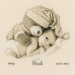 """8.75""""X8"""" 14 Count - Baby & Teddy Birth Record On Aida Counted Cross Stitch Kit"""