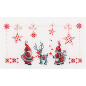 """11""""X6.75"""" 14 Count - Christmas Elves On Aida Counted Cross Stitch Kit"""
