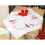 "32""X32"" - Christmas Elves Tablecloth Stamped Cross Stitch Kit"