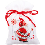 """3.25""""X4.75"""" 18 Count Set Of 3 - Christmas Elves Bags On Aida Counted Cross Stitch Kit"""