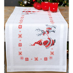 "16""X40"" - Christmas Elves Table Runner Stamped Cross Stitch Kit"