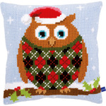 "16""X16"" - Christmas Owl Cushion Cross Stitch Kit"