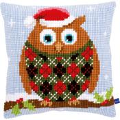 "16""X16"" - Christmas Owl Cushion Cross Stitch Kit"