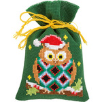 "3.25""X4.75"" 18 Count Set Of 3 - Christmas Owls Bags On Aida Counted Cross Stitch Kit"