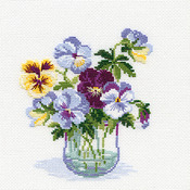 """8""""X8"""" 16 Count - Pansies Counted Cross Stitch Kit"""