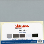"Gray Tones - My Colors Canvas Cardstock Bundle 12""X12"" 18/Pkg"