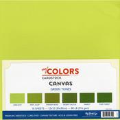 "Green Tones - My Colors Canvas Cardstock Bundle 12""X12"" 18/Pkg"