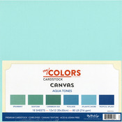 "Aqua Tones - My Colors Canvas Cardstock Bundle 12""X12"" 18/Pkg"