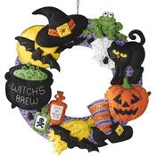 """17"""" Round - Witch's Brew Wreath Felt Applique Kit"""