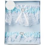 Blue - Wedding Lace Garter Set W/Rhinestone Heart 2/Pkg