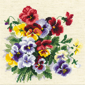 """8""""X8"""" 14 Count - Pansy Medley Counted Cross Stitch Kit"""