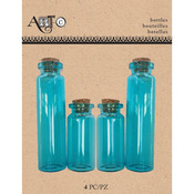 Apothecary Blue, 4/Pkg - Art-C Mini Glass Bottles