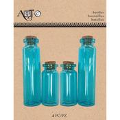 Apothecary Blue, 4/Pkg - Art-C Mini Glass Bottles