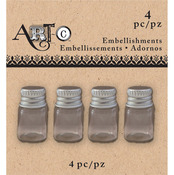 Mini Round, 4/Pkg - Art-C Mini Glass Bottles