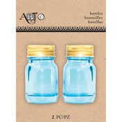 Mason Blue, 2/Pkg - Art-C Mini Glass Bottles