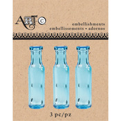 Mini Blue Champagne, 3/Pkg - Art-C Mini Glass Bottles