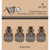 Clear Rim, 4/Pkg - Art-C Mini Glass Bottles
