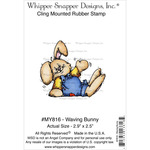 """Waving Bunny - Whipper Snapper Cling Stamp 4""""X6"""""""
