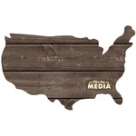 """USA 13.5""""X11.25"""" - Mix The Media Wooden Plank Plaque"""