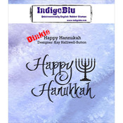 "Happy Hannukah - IndigoBlu Cling Mounted Stamp 3""X3"""