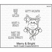 """Merry And Bright - North Coast Creations Cling Rubber Stamps 5""""X6.75"""""""