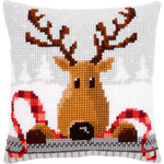 "16""X16"" - Reindeer With A Red Scarf I Cushion Cross Stitch Kit"