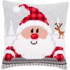 """16""""X16"""" - Santa In A Plaid Hat Cushion Cross Stitch Kit"""