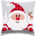 "16""X16"" - Santa In A Plaid Hat Cushion Cross Stitch Kit"